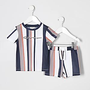 Ensemble avec t-shirt en maille ajourée rayé grège mini garçon