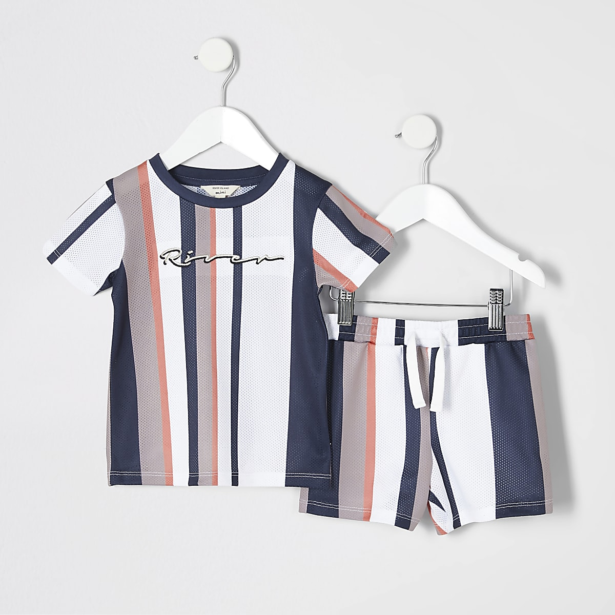 Mini boys stone stripe mesh T-shirt outfit
