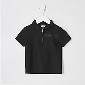 Mini boys black Maison Riviera polo top