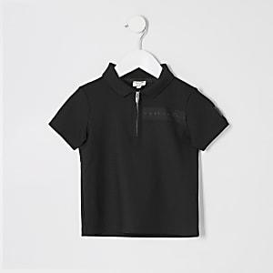 "Mini Boys Schwarzes Polo-Shirt ""Maison Riviera"""