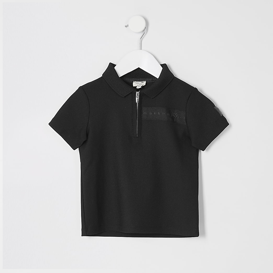 Mini boys black Maison Riviera polo top