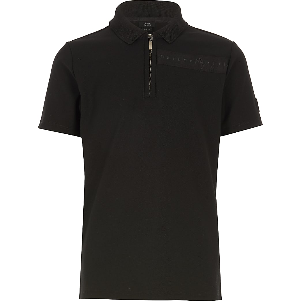 Boys black Maison Riviera polo top