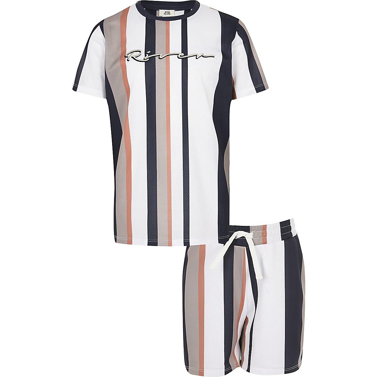 Boys stone stripe mesh T-shirt outfit