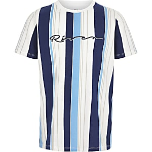 Boys blue 'River' stripe T-shirt