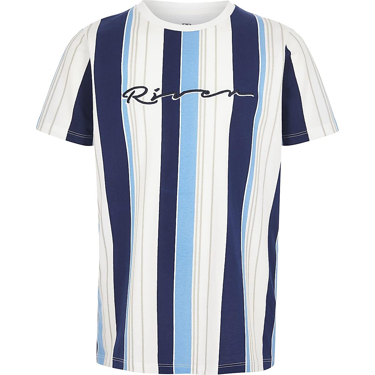 """Blaues T-Shirt """"River"""" mit Streifen"""
