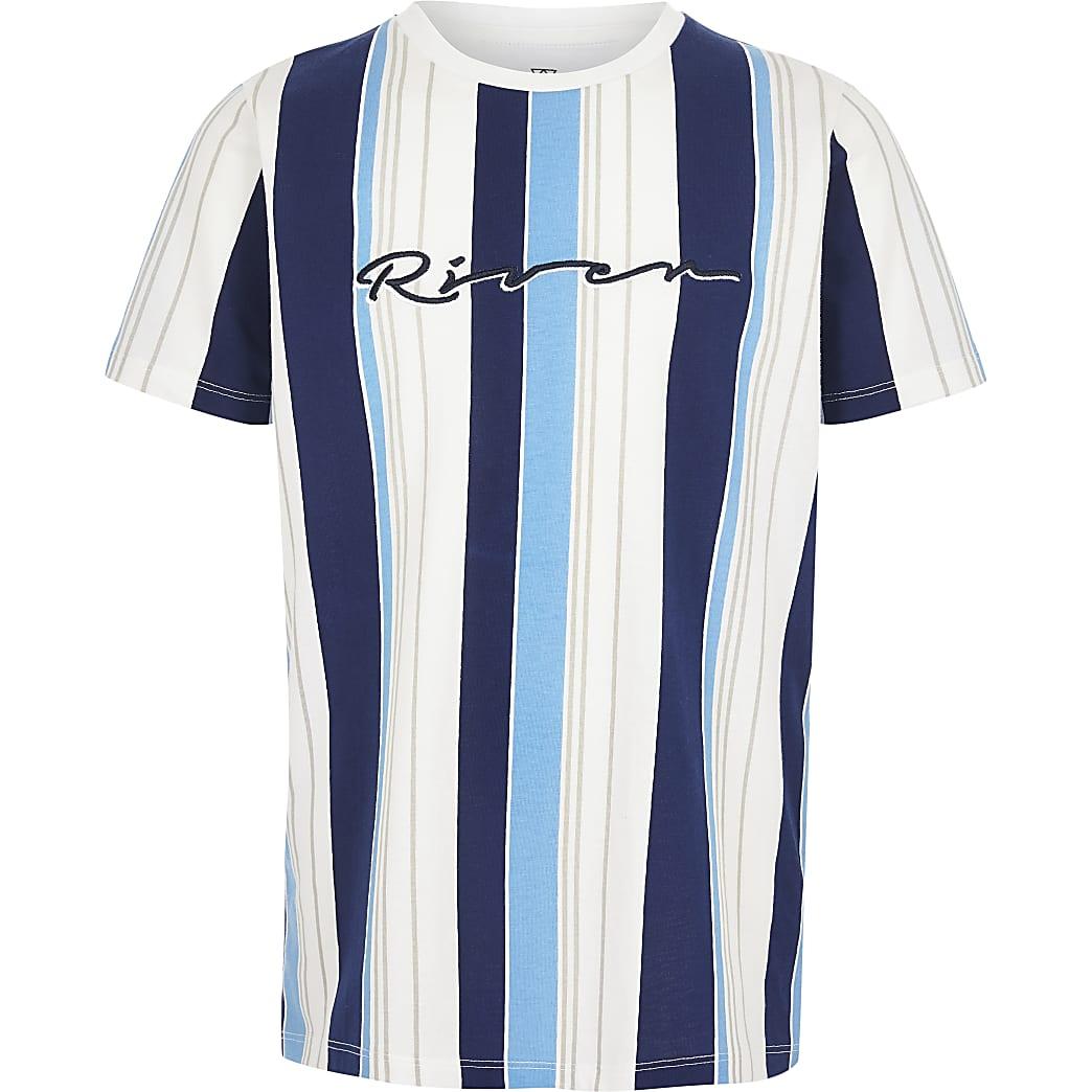 Boys blue 'River' stripe T-shirt