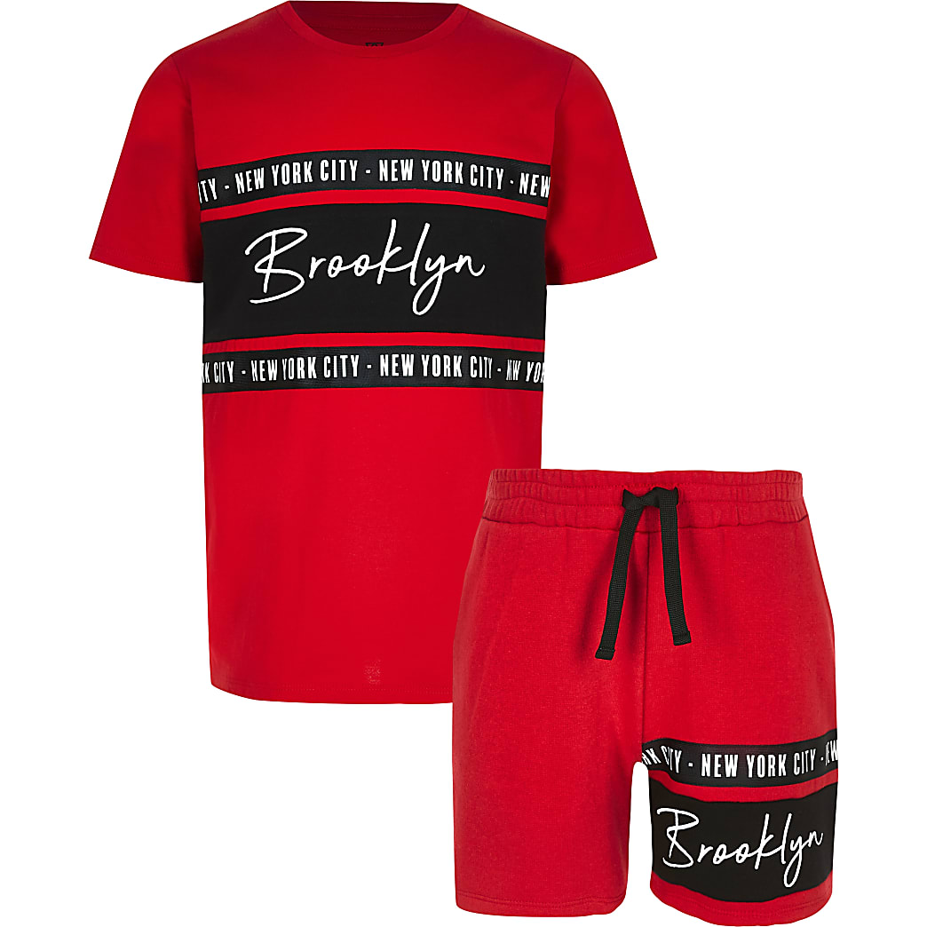 Boys red 'Brookyln' T-shirt outfit