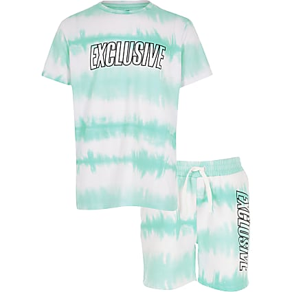 Boys blue tie dye T-shirt and short outfit