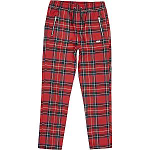 Pantalons à carreaux écossais rouges pour garçon