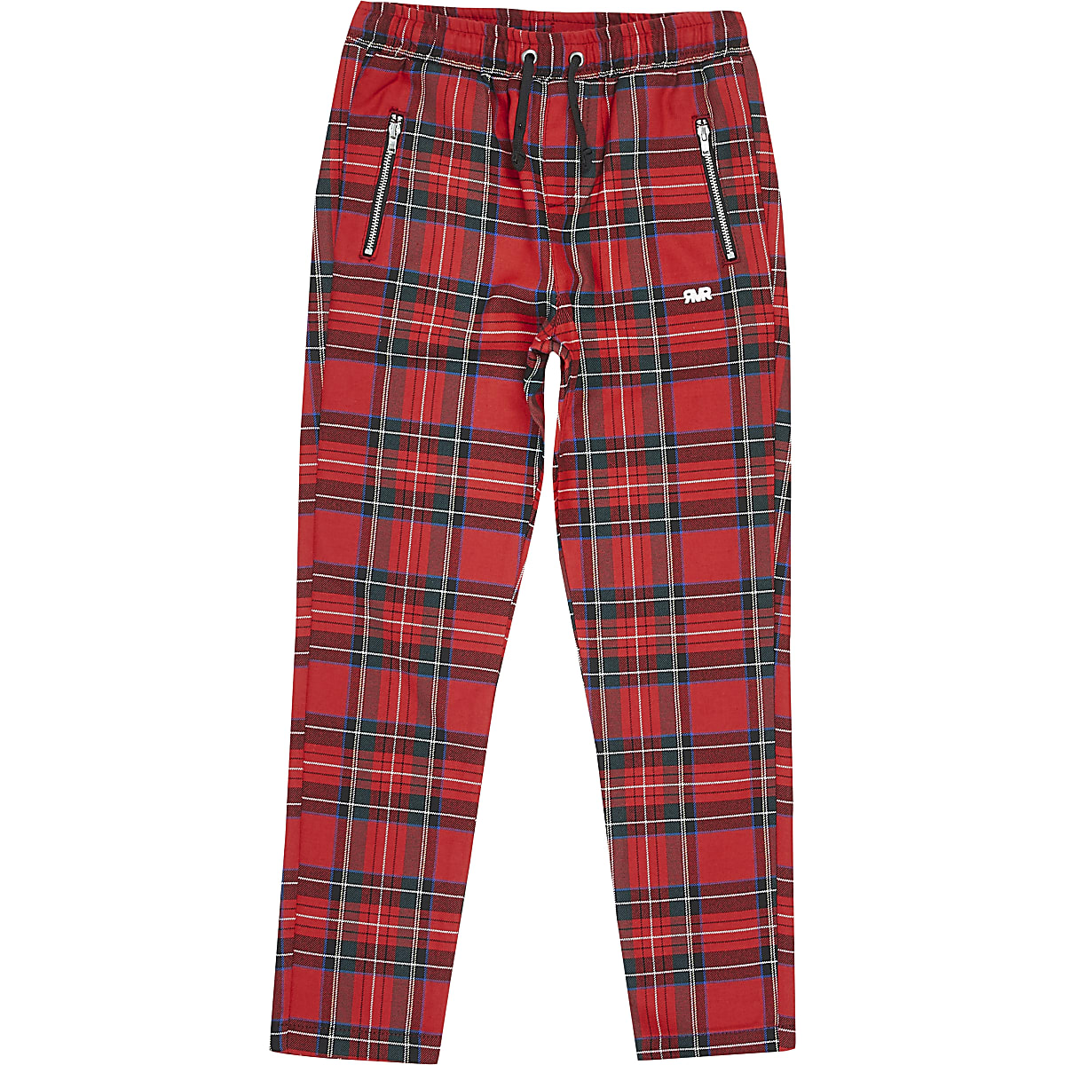 Boys red tartan check trousers