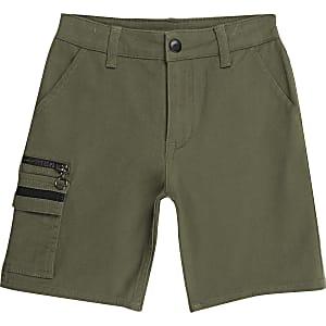Kaki utility shorts for jongens