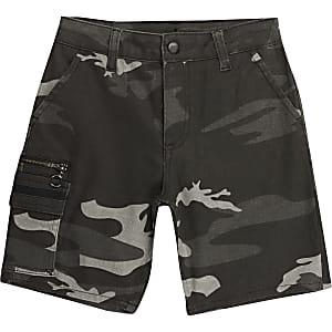 Short utilitaire kaki camouflage pourgarçon