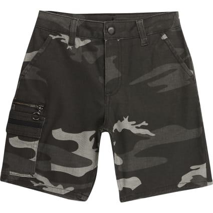 Boys kahki camo utility shorts