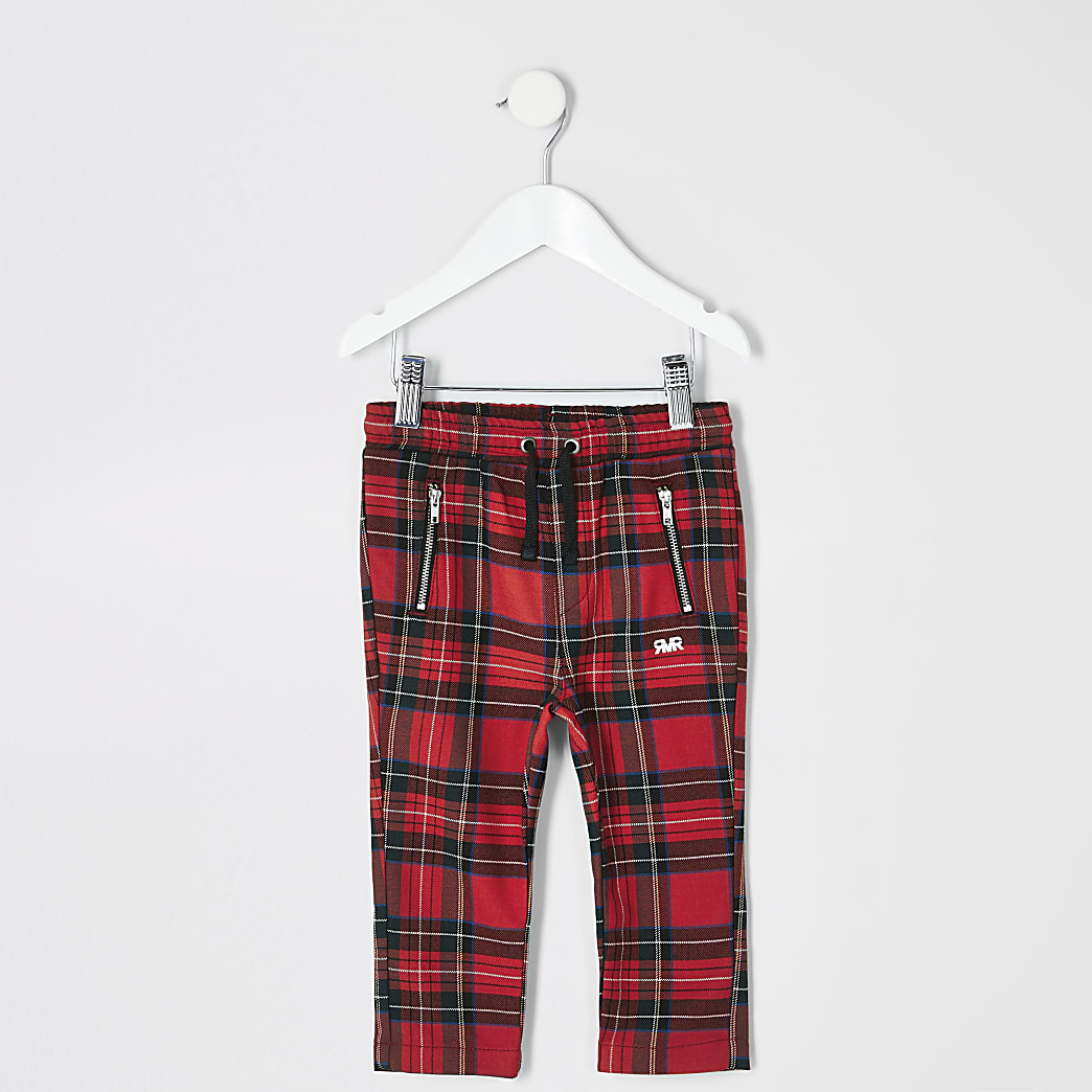 Mini boys red tartan check trousers