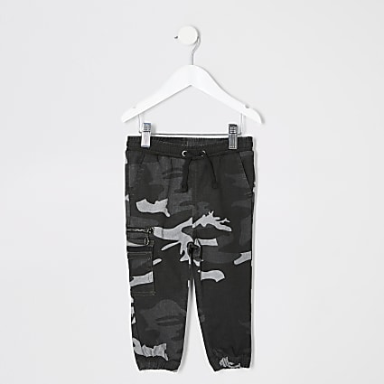 Mini boys grey camo utility joggers