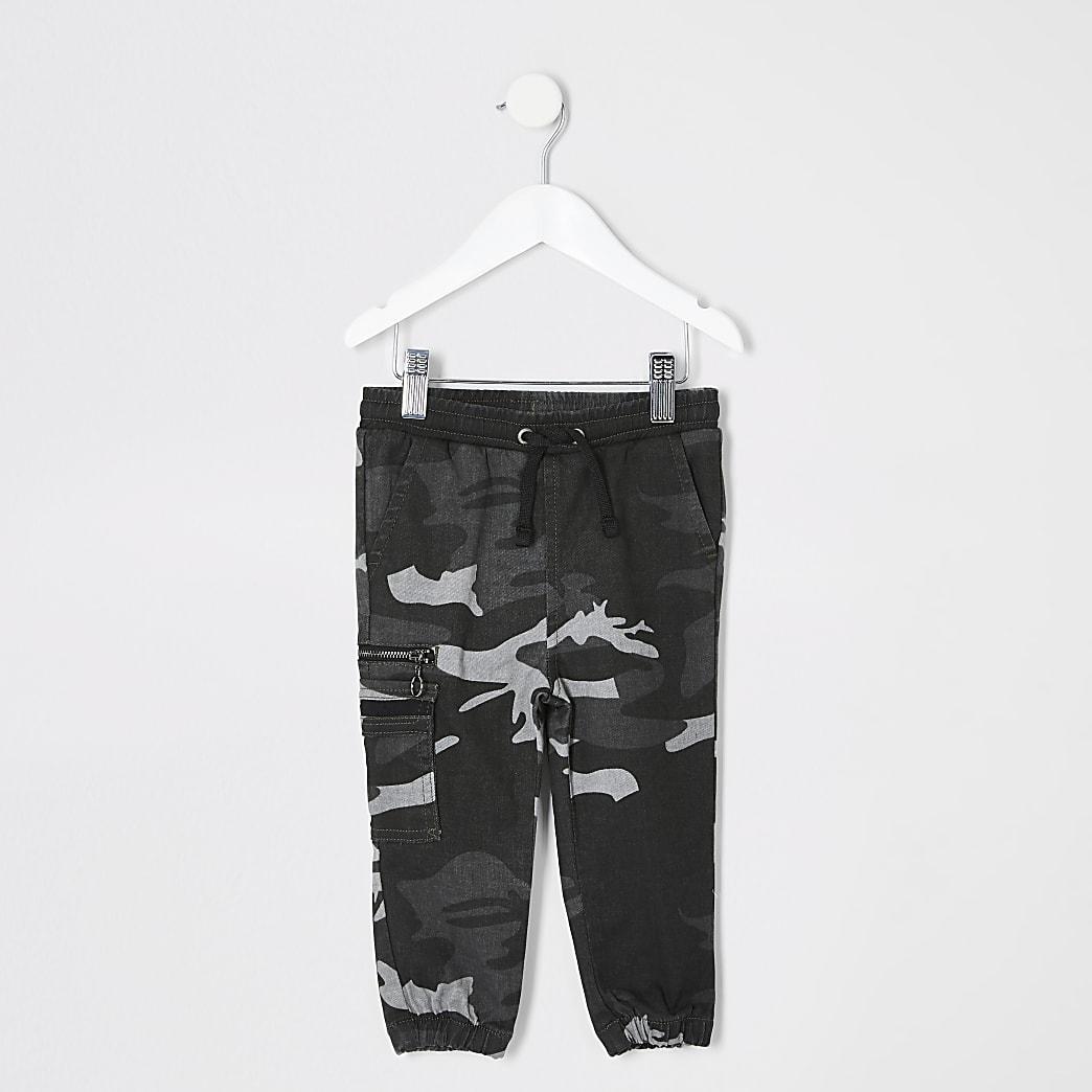 Pantalon de jogging utilitaire gris camouflage Mini garçon