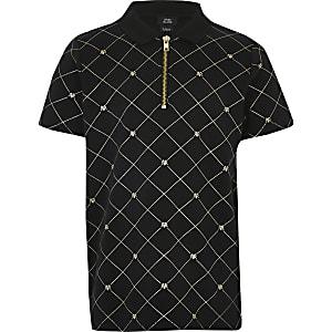 Schwarzes Poloshirt für Jungen mit Reißverschluss und RI-Folien-Monogramm