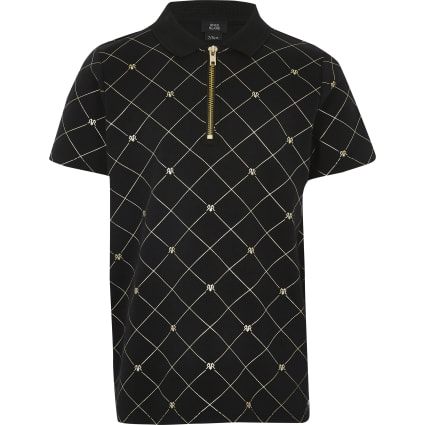 Boys black RI foil monogram zip polo shirt