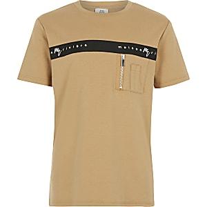 Maison Riviera - Kiezelkleurig T-shirt met biezen voor jongens