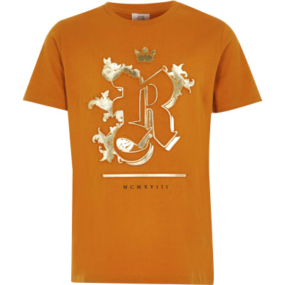Boys Yellow Foil Embossed T Shirt by River Island