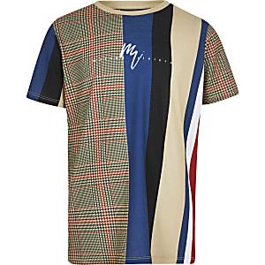 Kiezelkleurig T-shirt met ruitenprint voor jongens