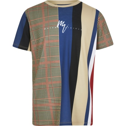 Boys stone checked print T-shirt