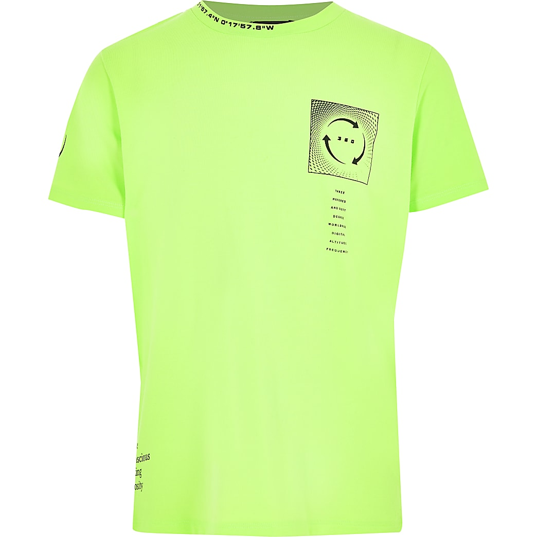 Boys bright green printed T-shirt
