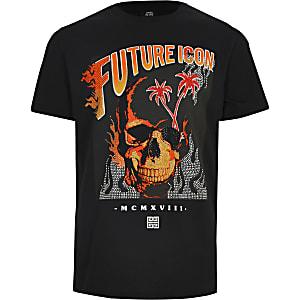Zwart verfraaid T-shirt met 'Future icon'-tekst voor jongens
