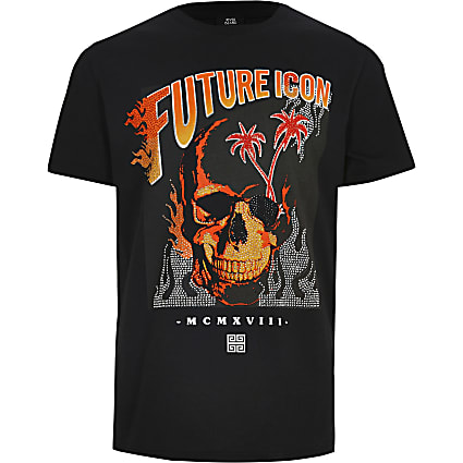 Boys black 'Future icon' embellished T-shirt