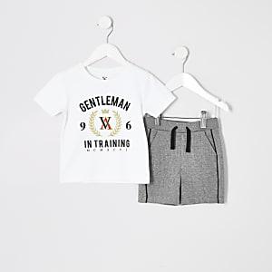 Mini - Outfit met wit T-shirt met print voor jongens