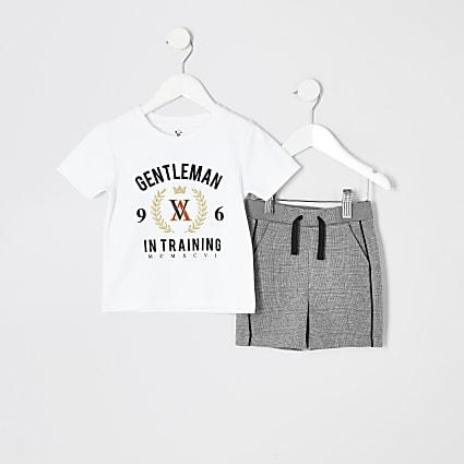 Mini boys white printed T-shirt outfit