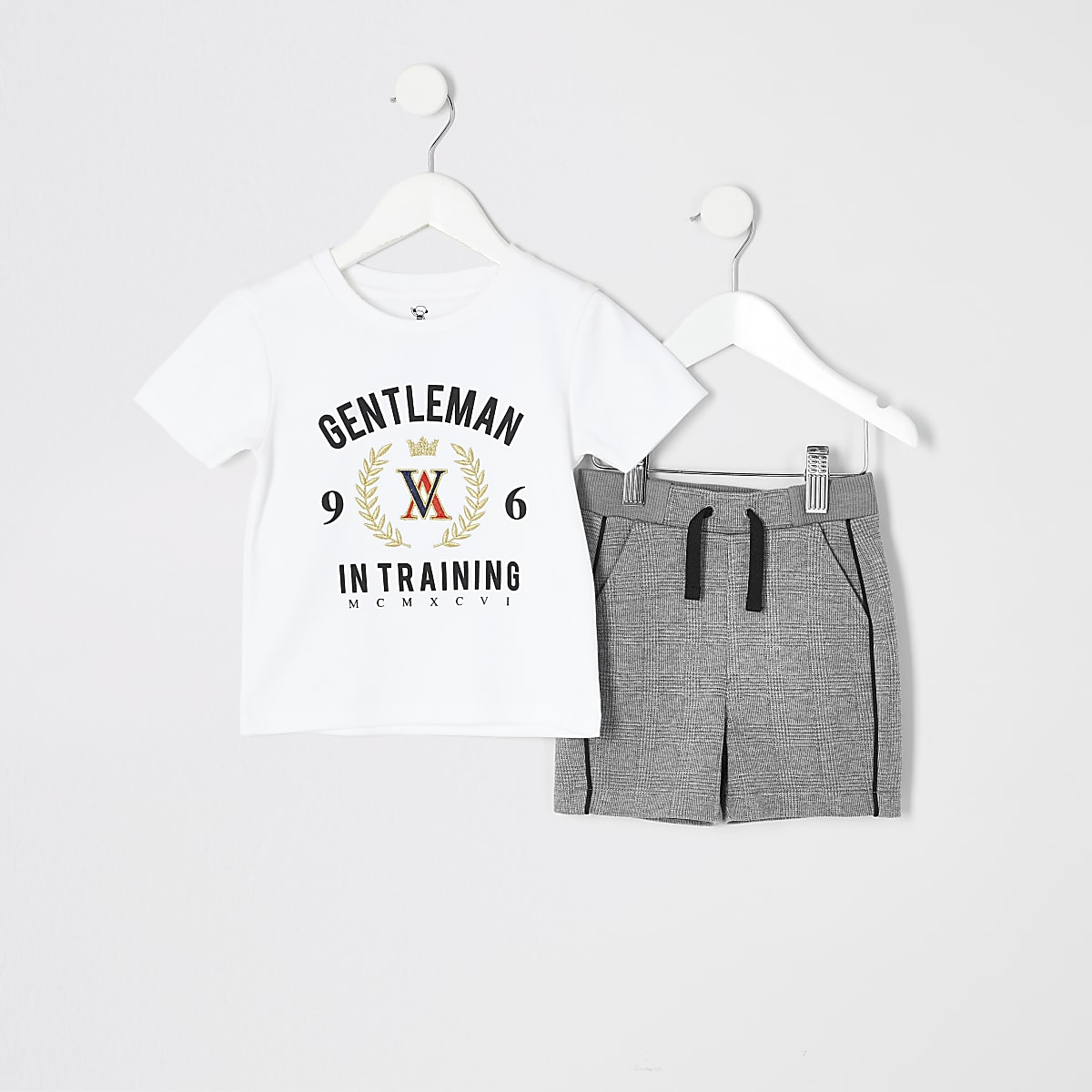 Mini boys white printed T-shirt outfit