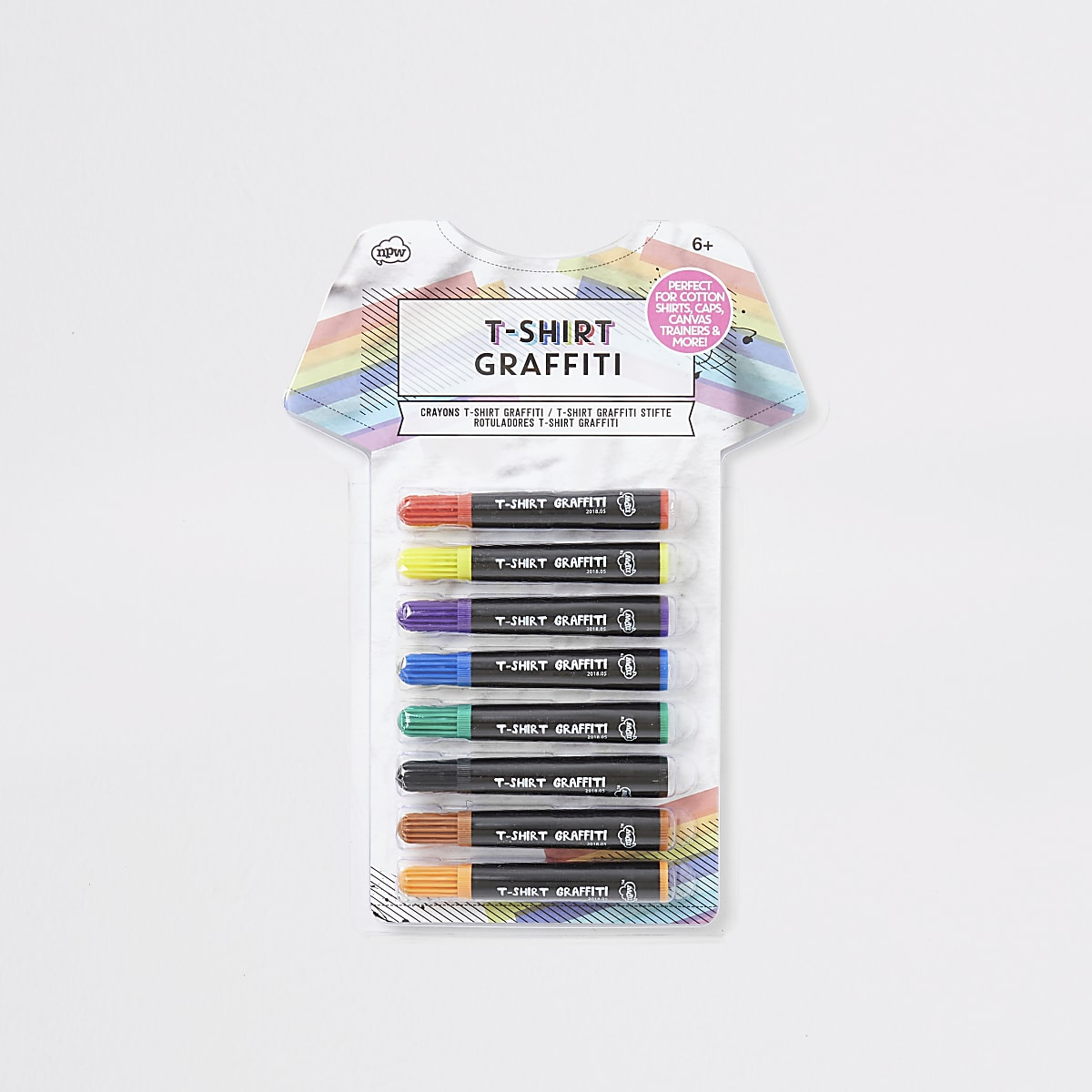 Kids white T-shirt graffiti pens