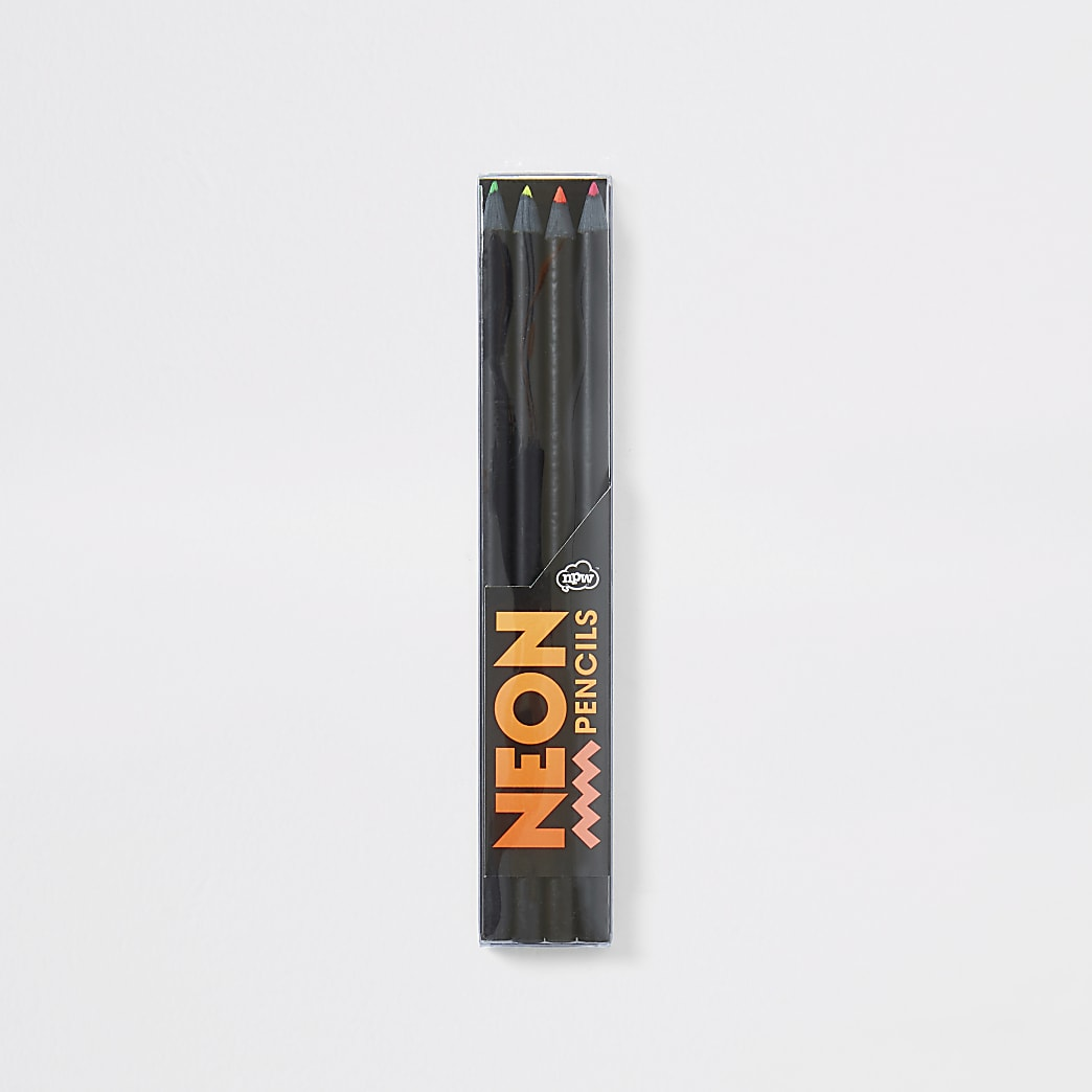 Boys black neon pencils