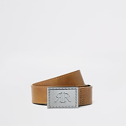Boys tan RI chunky buckle belt
