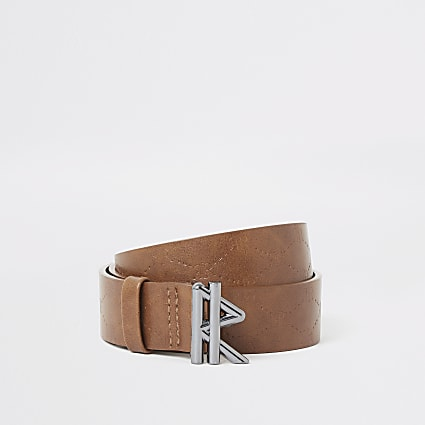 Boys tan RVR embossed belt