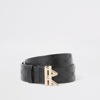 Boys black RVR embossed belt
