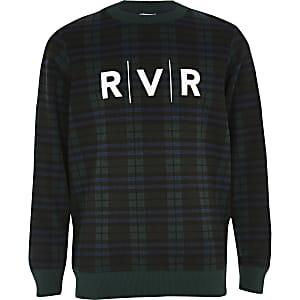 Groen geruit sweatshirt met RVR-print voor jongens