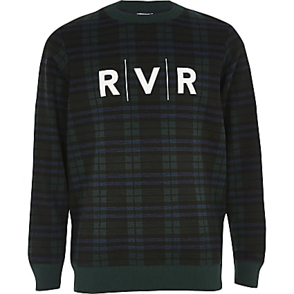 Boys green check RVR printed sweatshirt
