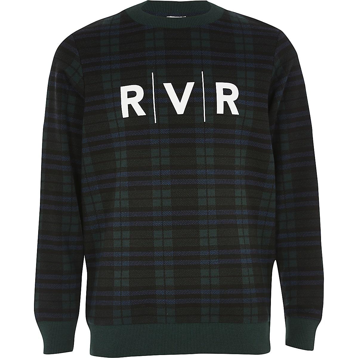 Sweat à carreaux verts et imprimé « RVR » pour garçon
