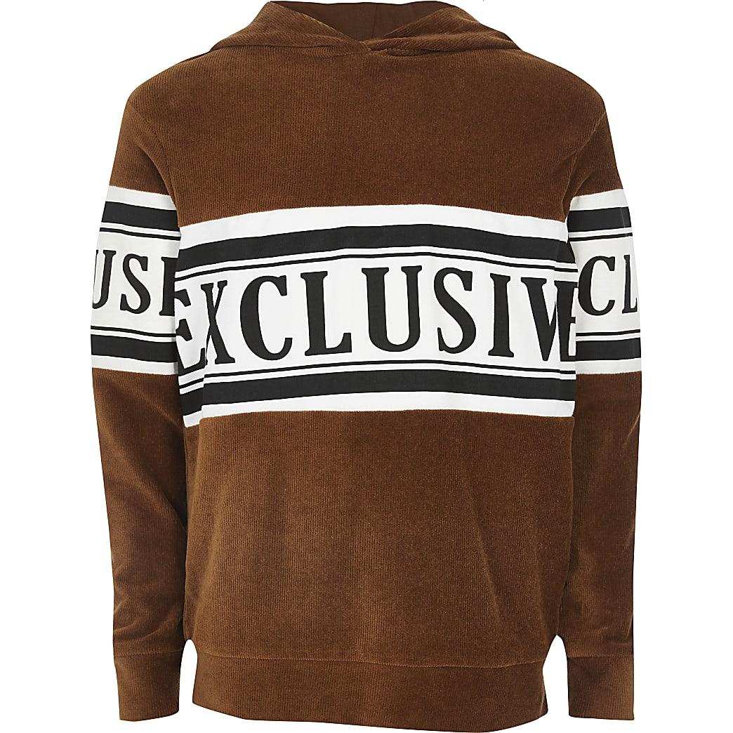 Boys brown 'exclusive' cord hoodie