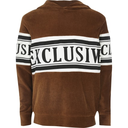 Boys brown 'exclusive' cord hoodie