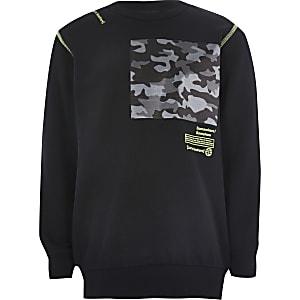 Zwarte sweater met vlak met camouflageprint voor jongens