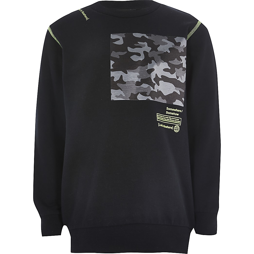 Boys black camo block printed sweatshirt