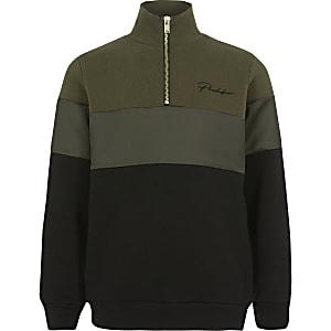 Prolific Sweatshirt in Khaki mit Reißverschluss am Kragen für Jungen