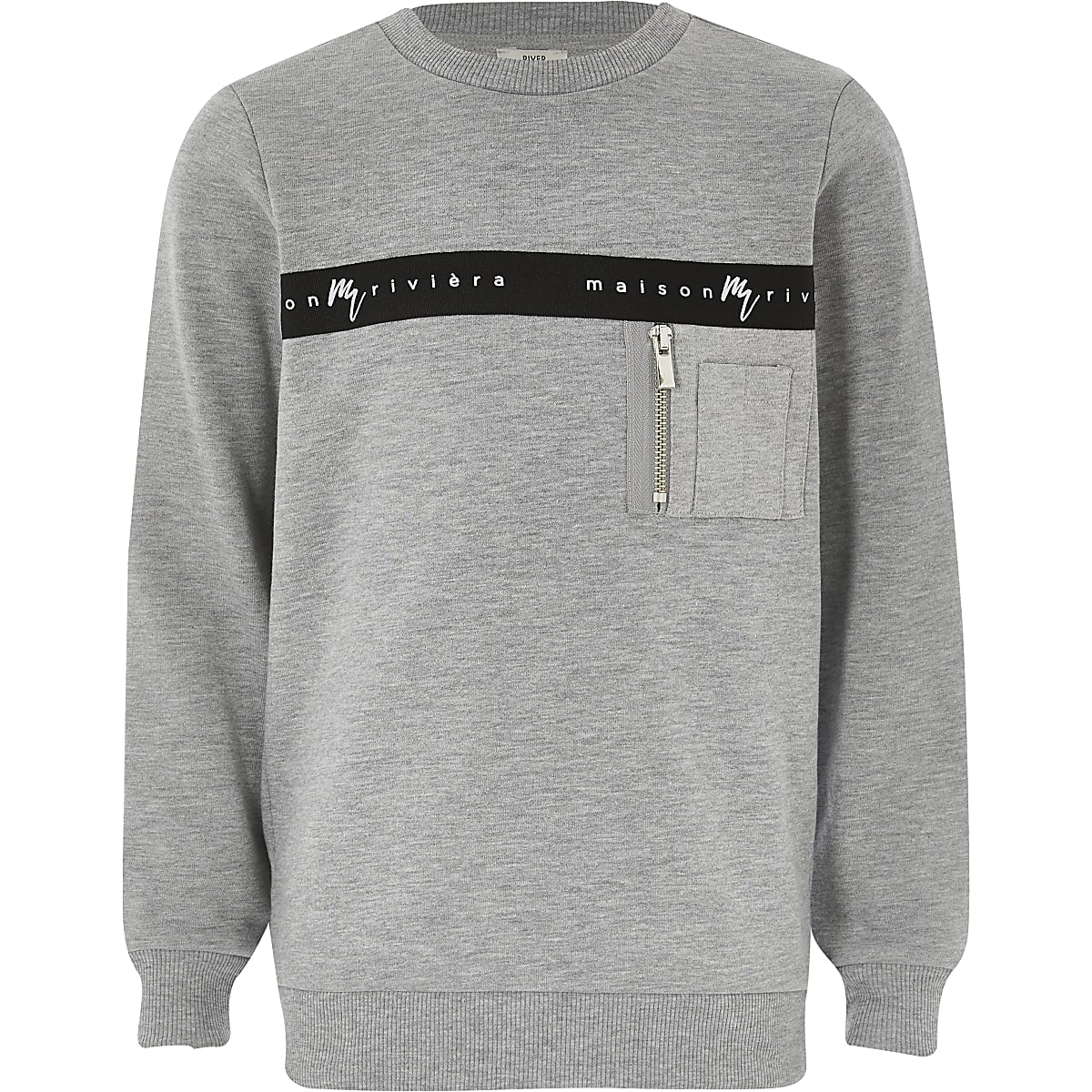 Boys grey Maison Riviera tape sweatshirt