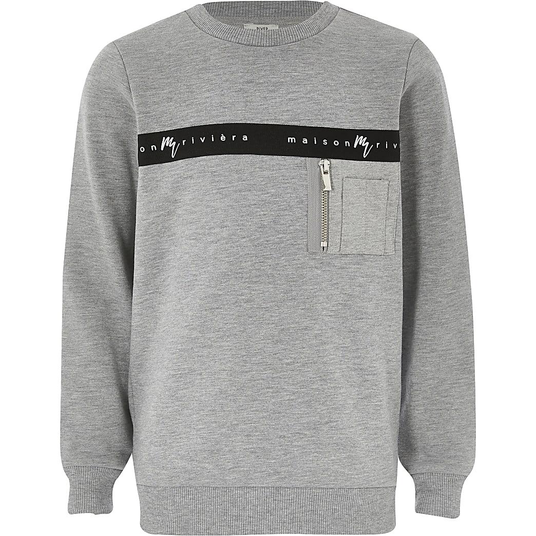 Boys grey Maison Riviera tape sweatshirt