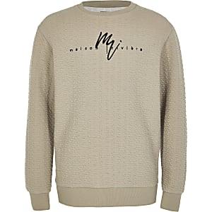 Maison Riviera - Kiezelgrijs jacquard sweatshirt voor jongens