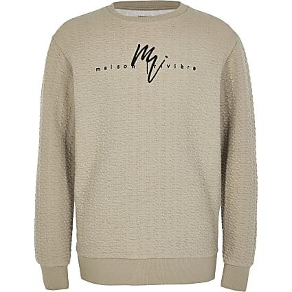 Boys stone Maison Riviera jacquard sweatshirt