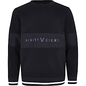 """Marineblaues Sweatshirt """"Ninety Eight"""" im Panel-Design für Jungen"""